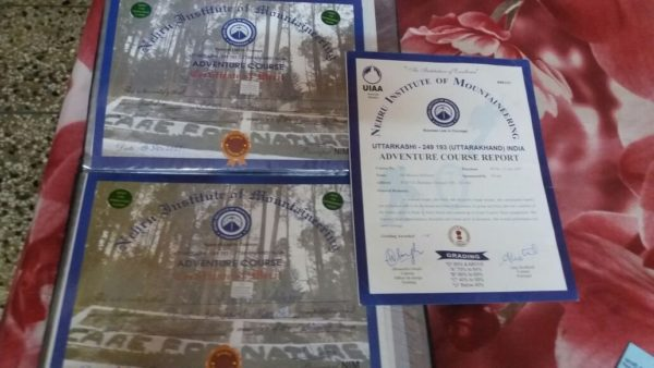 Certificate : Adventure Course at NIM
