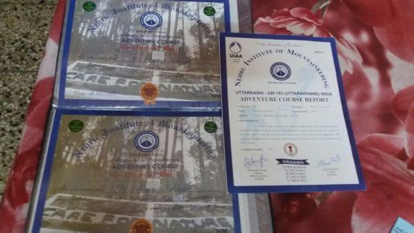 Certificate : Adventure Course at NIM